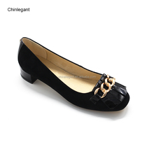 Latest Custom Design Women Retro Velvet Dress Pump On Chunk Block High Heel, Metal Ring Round Toe Casual Court Shoes