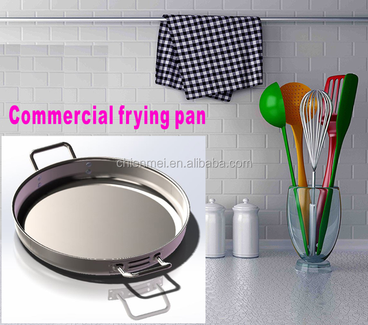Professional Commercial Master Chef 2 Stainless Stee Bi-Ply Bonded Oven Safe Free Fry Pan with two ears 16 Inch