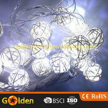 Handmade Rattan Ball String Lights 20 Warm White LED Christmas Indoor String Fairy Lights for Bedroom Wedding Party