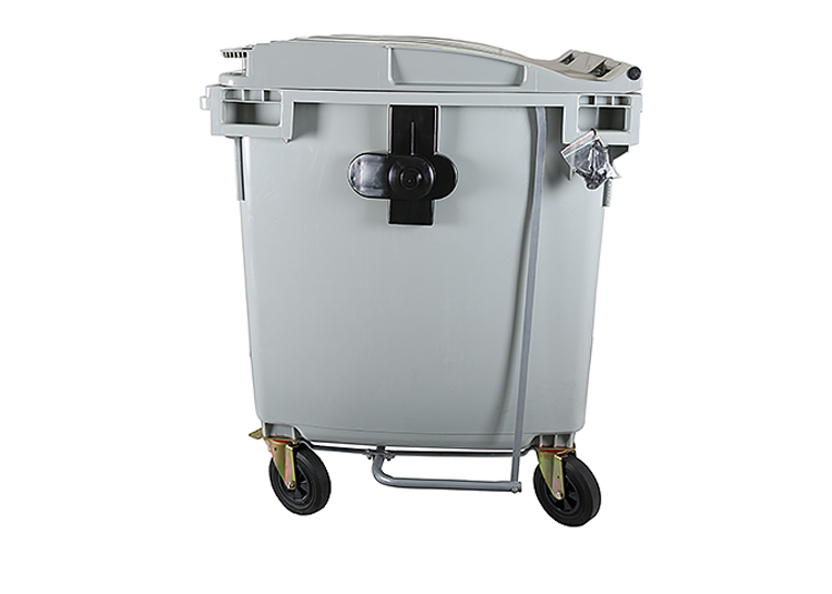 1100L industrial plastic waste bins with pedal