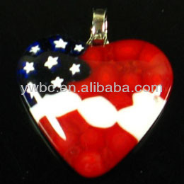 red heart lampwork glass with star pendant for mum (LMNB-1364)