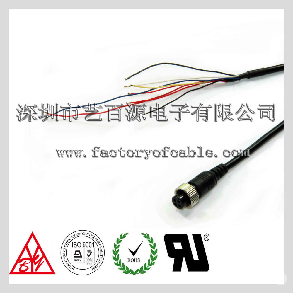 Water proof aviation M12 circular connectors cable car camera aviation connector cable