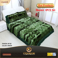 100% Polyester short hair Korean Raschel blanket and pillow set