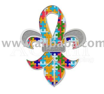 "Fleur-de-Lis Autism Awareness Puzzle Ribbon ""HOPE"" Pins"