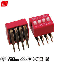 Right Angle Slide DIP-Switch 4 Position Red Color DIP Switch