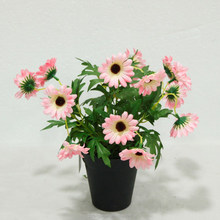 2015 new design mini pink gerbera Daisy flower in decorative pot wholesale artificial simulation silk flower for sale