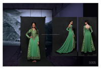 GREEN ROYAL GEORGETTE WITH MACHINE AND HAND EMBROIDERY