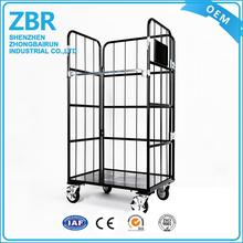 Galvanized foldable stacking warehouse rolling cage aluminum cart