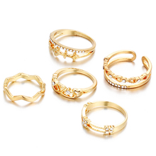 Wholesale fashion ring sets jewelry gold plated crystal five finger ring sets for women
