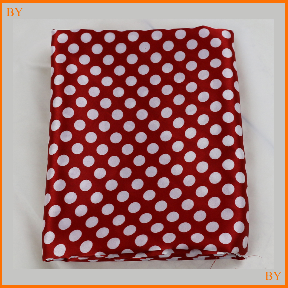 Soft Spandex Satin Material For Children Clothing Dress Red Polka Dots Cloth