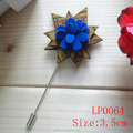 Newest fashion special flower wooden lapel pin with fabric center