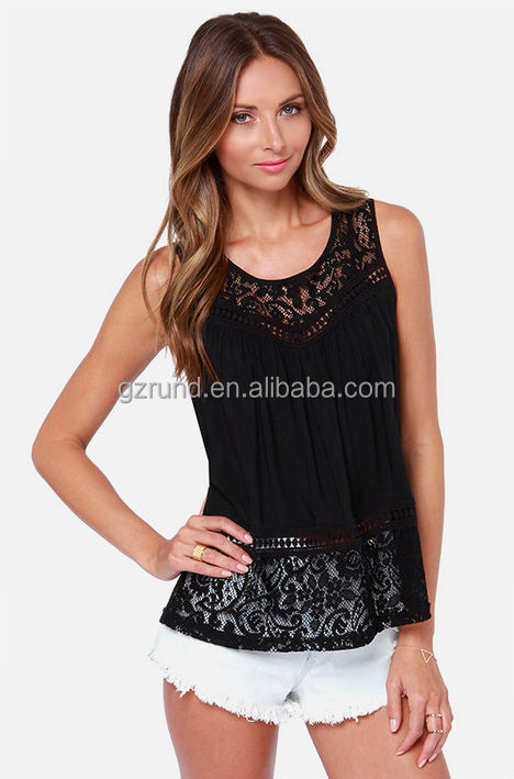 Ladies new stylish/fashion casual lace tops ladies tops latest design