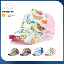 Top new style colorful 3d butterfly printing mesh 5 panels polyester material pre-curved sport baseball caps and hats