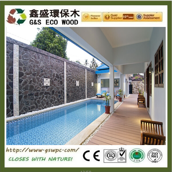 Outside long lifetime black composite decking terrace anti-uv wpc decking