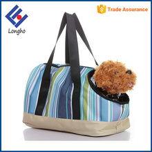 Alibaba china supplier 3 sided holes portable soft pet carrier multicolor striped designer dog carrier handbag