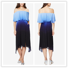 Very Fancy Women Chiffon Dresses Off The Shoulder Ombre Midi Dress