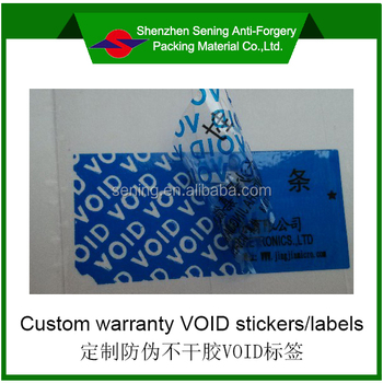 custom warranty void security adhesive vinyl labels/stickers