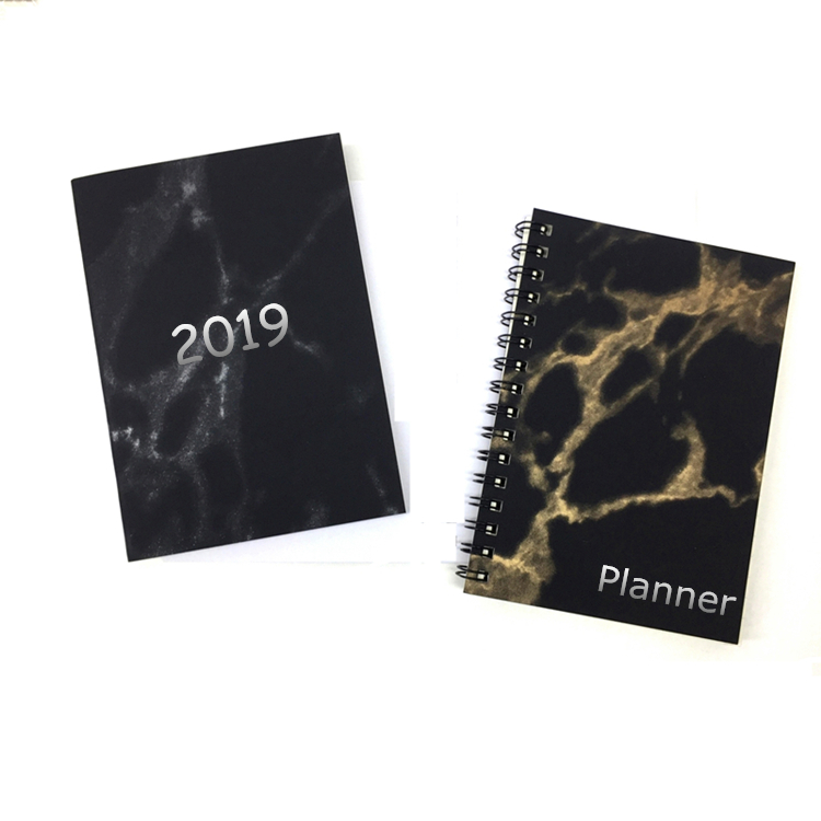 2019 Custom Planner Printing A4 A5 A6 Black Marble Notebook