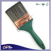 ColorRun fine hollow filament mixed with natural bristle green plastic handle paint brush manufacturer China