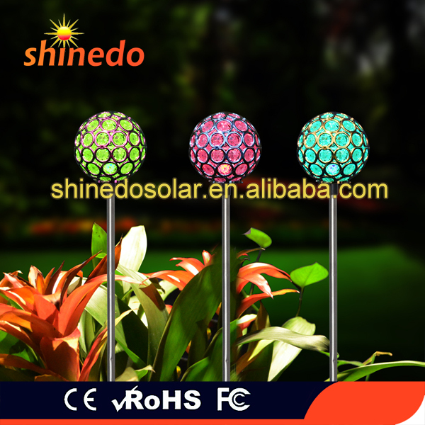Cracked Solar Stake Lamp Color Changing Solar LED Ball Light Fixture Decorative Globe Garden Lawn Ornaments