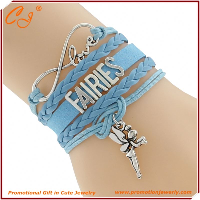 Blue Love Heart FAIRIES Braided Suede Cord Bangle Flower Princess Fashion Jewelry