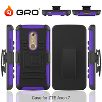 Silicone PC Holster With Belt Clip Kickstand Case For ZTE Axon7,T Stand Case For ZTE Axon7