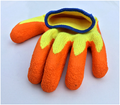 10G Economic Yellow polyester liner knitted orange latex safety glove