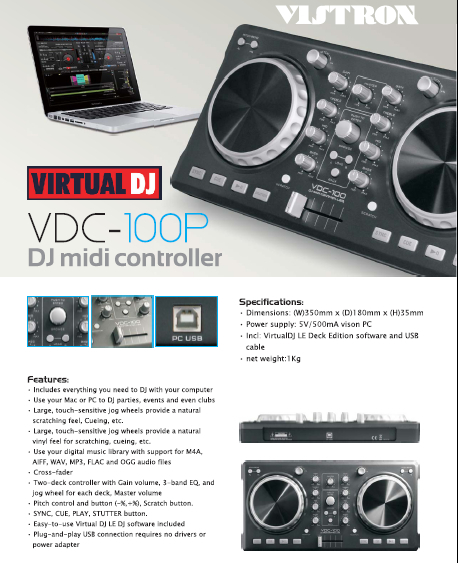 best selling Professional DJ Equipment VDC-100M midi dj Equipment Controller