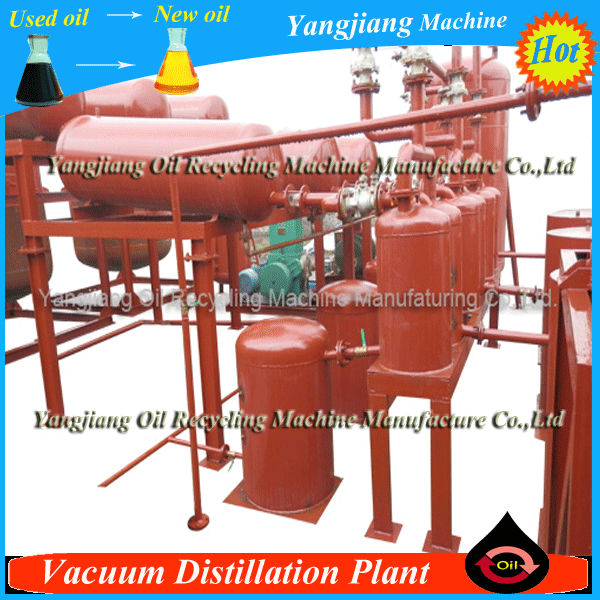Vacuum distillation plant for black engine oil recycling
