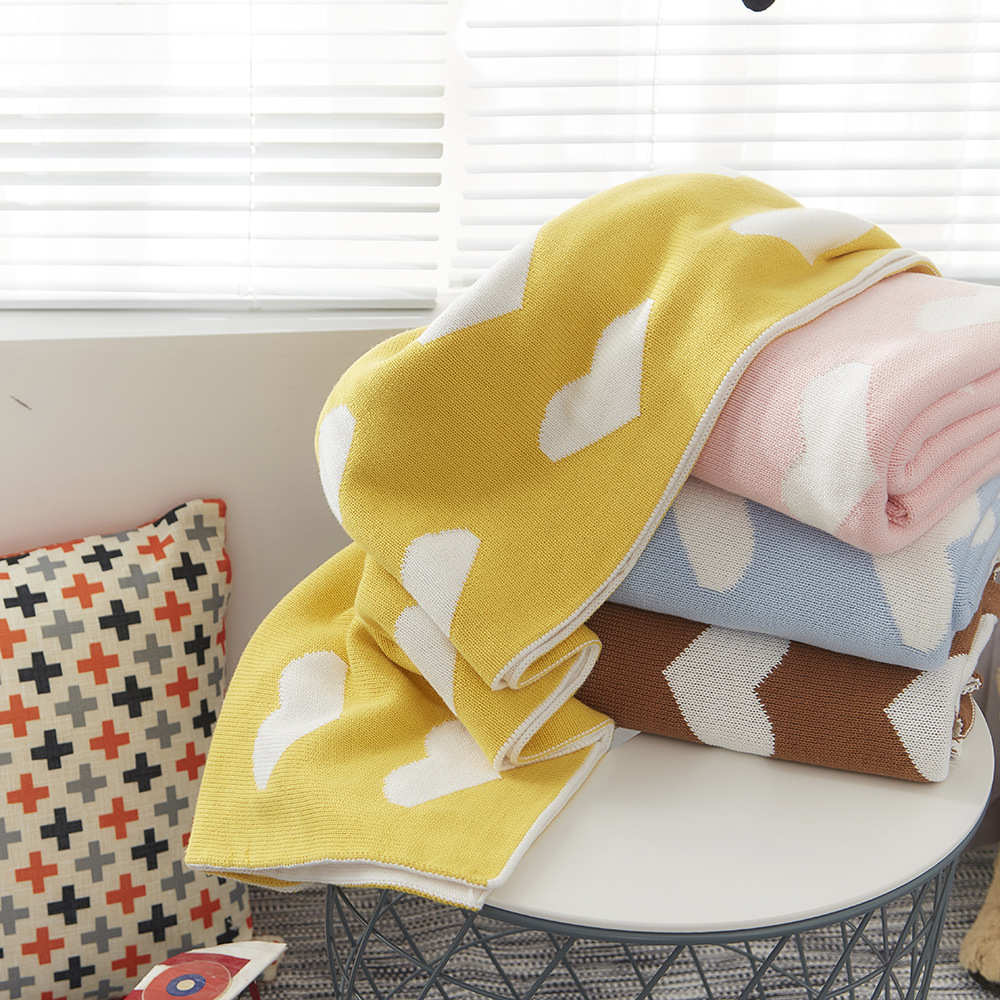 Wholesale Loving Heart Printed Knitted Cotton Blanket <strong>Baby</strong>