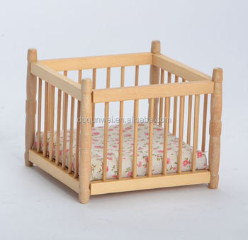 1/12 Scale Wooden Natural Color Mini Single Beds With Fabric for Dolls QW60143