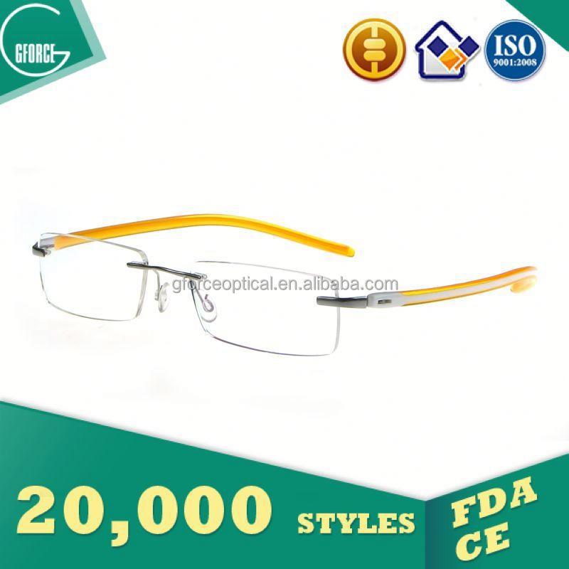 Wood rimless titanium eyeglasses frame, eyeglass repair kit