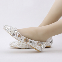 Beatiful Flat Heel White Pearl Wedding Shoes Comfortable Crystal Bridal Flats Customized Mother of Bride Shoes Plus Size
