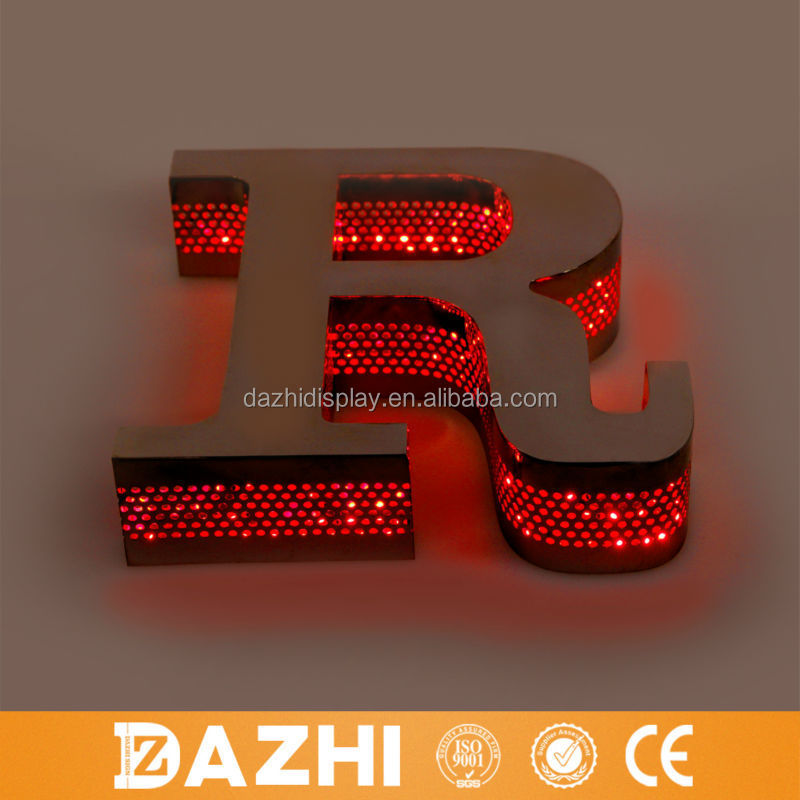 2015 304# mirror stainless steel 3D hotel signage with waterproof led module