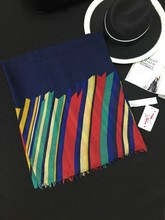 2015 color stripes printed cotton twill scarf shawl LC0005