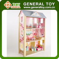 2016 New Design Small Wooden Toy Doll House With Doll Furniture