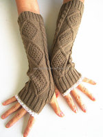 NL20 2015 long section of lace wool gloves wrist warm gloves half finger mitts arm sleeve gloves