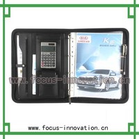 Multifunction portfolio ,portfolio, leather portfolio with zipper, binder,calculator, card slots &pad