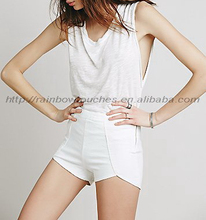 Top flat front high rise white side zip lady tight shorts