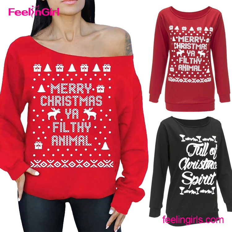 Long Sleeve Red Xmas Kintting Pattern Christmas Sweater