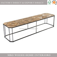 vintage reclaimed wood parquet top industrial iron long bench coffee table