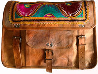 Hand Crafted and Hand Embroidered Beautiful Leather Messenger Bag with 100% pure Leather