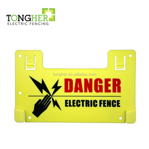 Yellow plastic double printed high voltage electric fence warning signs for security