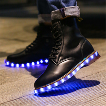 Luxury USB Rechargable Women Men Martin Boots Genuine Leather LED Light Up Shoes Black Boots