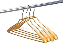 Newest design gold pvc coated wire metal clothes hanger
