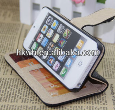 New!!! beatifull popular PU case flip Top Case For Iphone 4 4S/5