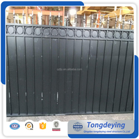 Black Powder Coating Wrought Iron Strong Fencing Steel Fence With Iron Sheet