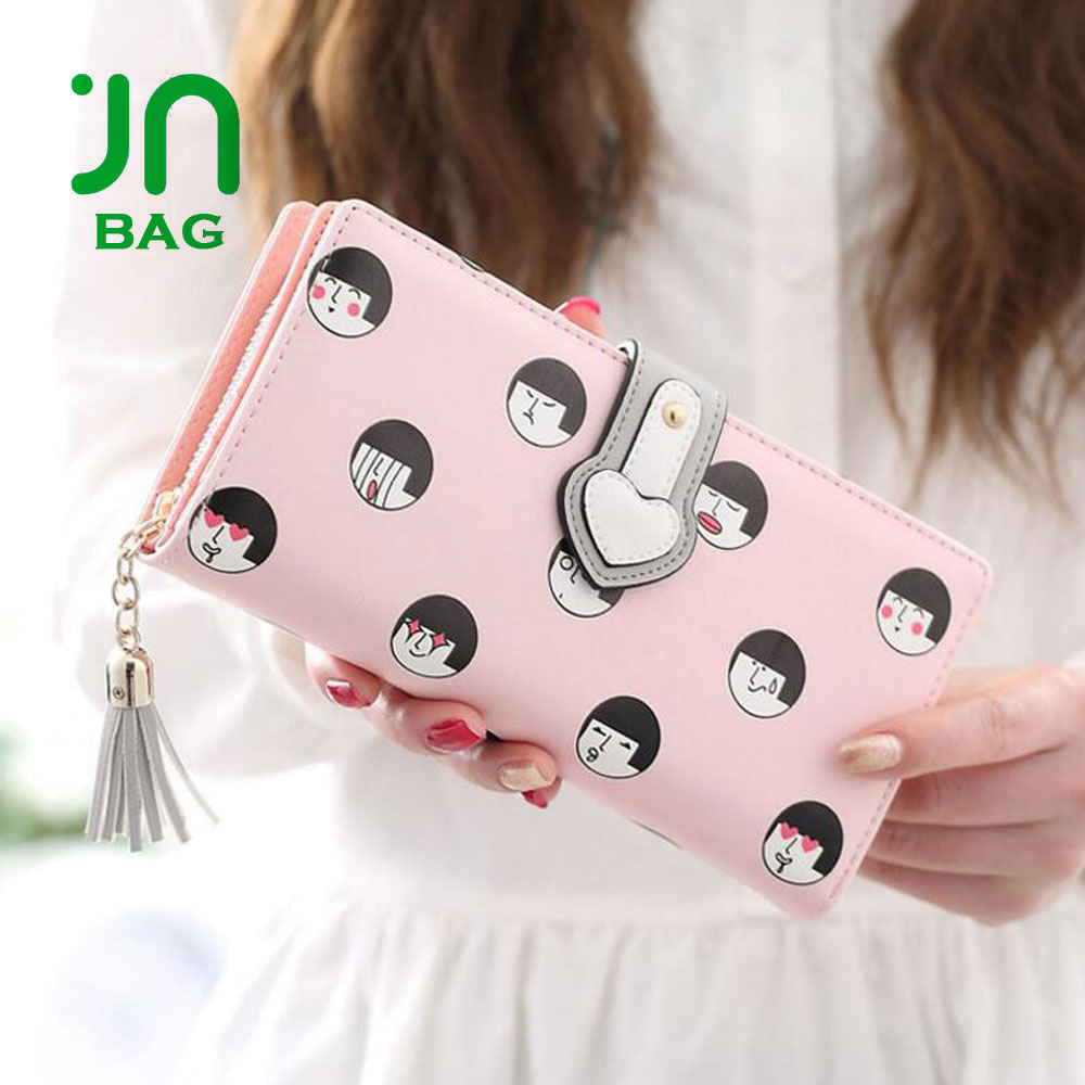 JIANUO hand purse for women smile face printing lady purse women wallet