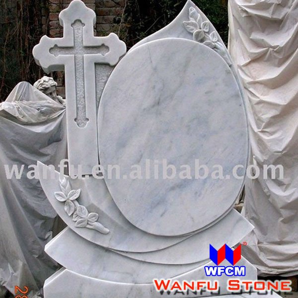 European Style Polish Cross White Marble Tombstone