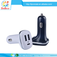 3 port usb type c car charger 5v 4.8a for macbook and mobile phones
